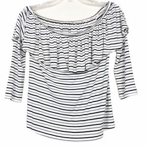 American eagle striped off the shoulder 3/4 top